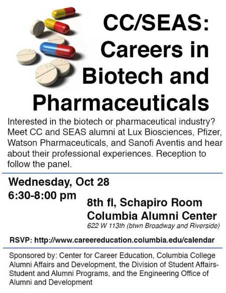 CC/SEAS: Careers in Biotech and Pharmaceutical (10/28)