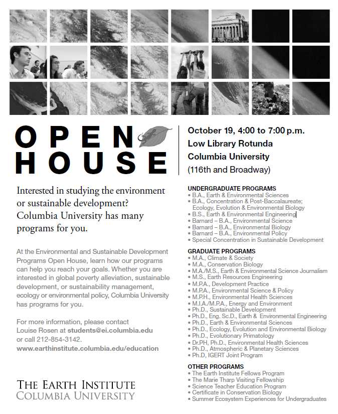 Environmental and Sustainable Development Programs Open House (10/19)